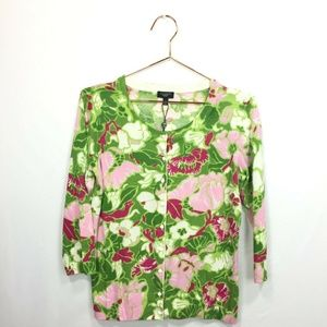 New Talbots S Small Cardigan Green Pink Floral Swe